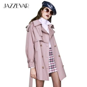 JAZZEVAR new 2018 Autumn Fashion Casual Women's Trench Coat Double Breasted Outerwear For Lady Good Quality