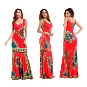 أزياء المرأة فستان ماكسي أكمام البوهيمي نمط شاطئ بوهو أنيقة عطلة فستان الشمس زهرة طباعة فساتين عادية