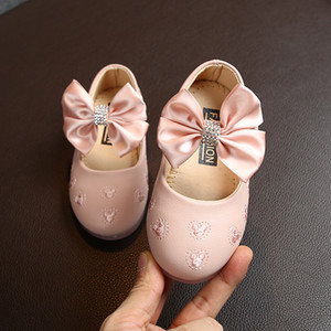 Baby Girls Leather Shoes Princess Sweet Bow-knot Ribbon Bowtie Kids Flats Children Dress Shoes For Wedding Party Soft Quality