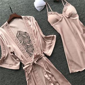 Las mujeres del traje del vestido de Conjuntos del cordón atractivo del sueño Salón Pijama manga larga de las señoras ropa de dormir vestido de noche albornoz con PECHO