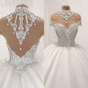 Vestidos de boda del vestido de bola de lujo Sheer Cap mangas de tul diamante moldeado cristalino del tamaño extra grande de los vestidos de princesa Puffy por encargo de la novia de la boda