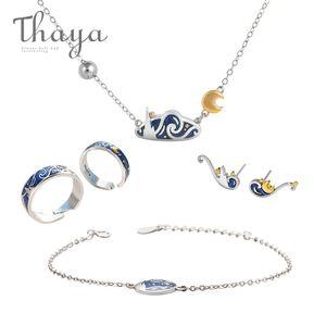Thaya Van Goghs edlen Schmuck Set echte S925 Silber-Ring-Emaille-Halsketten-Armband-Ohrring-Bolzen für Frauen Romantischen Geschenk CJ191205