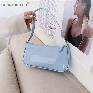 Fashion Patent Leather Bag Female Bag 2020 Summer Underarm Shoulder Baguette Shape Luxury Handbags Women Bags Designer