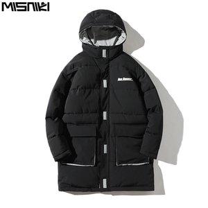 Misniki 2019 Streetwear Erkekler Kış Jakcets Sıcak Windproof Hood Ceket Kaban Kalınlaşmak Erkekler Parkas Hombre JP08 Isınma