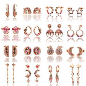 Drop 2020 New Rainbow zircon Stud jewelry for Women gold rose cz Earrings star love smile circle flower Earrings best gift