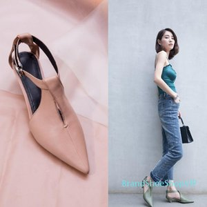 Crystal2019 Woman Shoe Single Fund Genuine Leather One Buckle Sandals Woman Fairy Wind Baotou With Cat With Shoe Sharp Witch Shoe