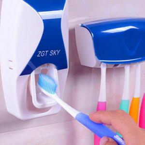 SICAK 1 ADET Diş Fırçası Tutucu Otomatik Diş Macunu Dispenser + 5 Diş Fırçası Tutucu Diş Fırçası Duvara Monte Standı Banyo Araçları