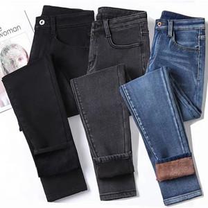 Women High Waist Thermal Jeans Fleece Lined Denim Pants Stretchy Trousers Skinny Pants MUG88