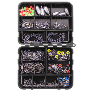 160pcs Fishing Accessories Kit Set With Tackle Box Including Fishing Sinker Weights Fishing Swivels Snaps Jig Hook Pesca K320G
