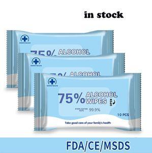 % 75 Alkol Mendil Dezenfeksiyon Tek El Islak Mendil Alkol Temizleme Taşınabilir Temiz Dezenfeksiyon Dipes 10pcs Wipe / lot
