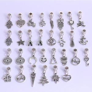30 stile stili misti 925 fascini d'argento pendente di fascini dei branelli della lega del pendente del grande foro misura branelli europeo fascino Pandora Bracelet economici