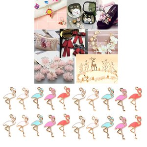 20pcs Enamel Flamingo Charms Pendants Alloy Beads for DIY Jewelry Earrings Necklace Accessories 14 x 26mm