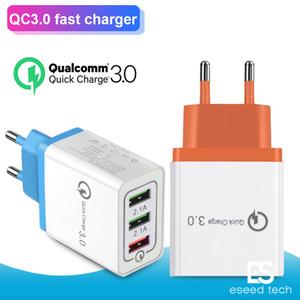 QC 3.0 Wall Charger 3 Ports Travel Adapter Quick Charge Multi USB Telefonadapter EU US Tragbare schnell aufladen für iPhone 11 Pro Max Samsung