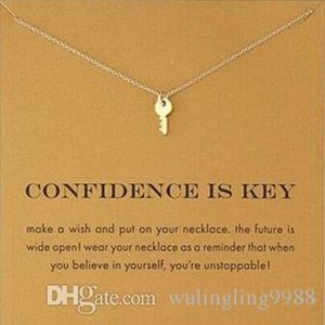 With card! Silver and gold color cute Dogeared Necklace with key(confidence is key) Key Pendant Necklaces Inspirational Necklace