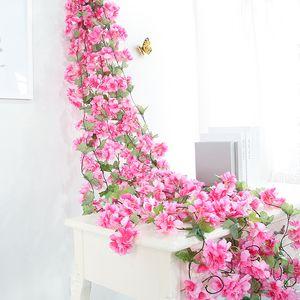 yumai 180cm Cherry Blossom Rattan Pink Sakura Flowers Vine Artificial Wreath for Wedding Wall Hanging Decoration Garden Decor