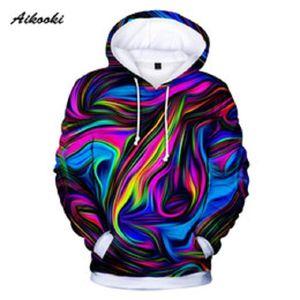 남성 / 여성 다채로운 넥타이 염료 후드 운동복 캐주얼 매직 소용돌이 패턴 3D 땀은 크루 넥 Hoondie 가을 겨울 Polluvers 탑