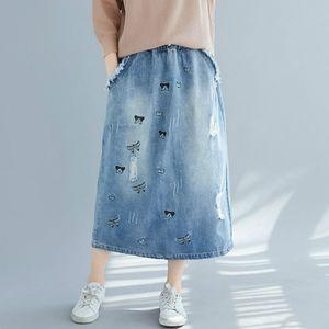 Plus Size Vintage-Ripped Schmetterling gestickte lange Jeansröcke für Frauen 2XL 3XL 4XL 5XL