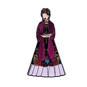 Elegant lady dress enamel pin feminism women badge Mexican aesthetic art collection