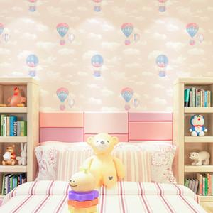 Rosa, balão de ar azul Crianças Wallpaper Crianças de papel da parede da sala nuvens brancas Boy Girl Bedroom Wallpapers