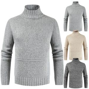 Casual Otoño Invierno Boy de gran tamaño suéter gris suéter de punto de Turtelneck manga larga jersey encima Hombres Cuello alto géneros de punto 3XL