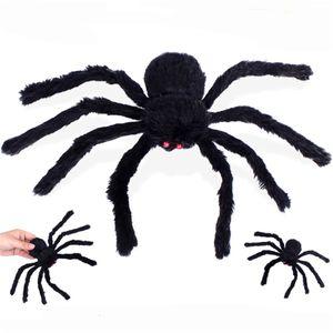 30см Реалистичный Волосатый черный паук Плюшевые игрушки Halloween Party Scary украшения Haunted House Prop Крытый Открытый Двор Декор JK1909