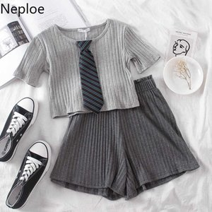 Neploe Women Two Pieces Sets Short Sleeve O-neck Tie Patchwork Tops + Stretch High Waist Wide Leg Shorts Outfits 2020 New 4B964