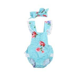 Flor Romper las ventas calientes 2pcs de los bebés recién nacidos Encaje Body sin espalda riza el mono del arco de la venda Equipos ropa de las muchachas 0-24 M
