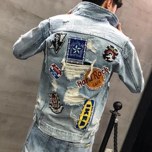 casuais versão coreana do bordado 2019 dos homens de primavera e outono do jovem selvagem tendência jaqueta jaqueta buraco denim bonito magro
