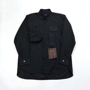 19SS shirt Jacket botão preto Primavera Outono Zipper bolso shirt Homens Mulheres Outdoor Casual Rua Brasão Hip Hop HFHLJK049 Outwear Jacket