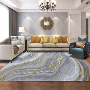 Nordic Modern Abstract Gray Curve Gold Pattern Crystal Velvet Carpet Carpets For The Modern Living Room Room Rougs