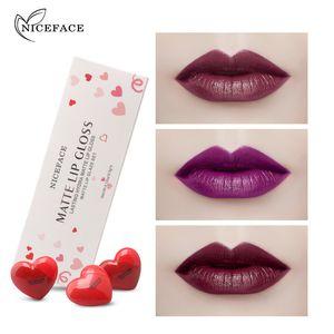 NICEFACE Donne Matte Lipgloss impermeabile duratura forma di liquido opaco Rossetto Gloss tinta con cuore bella