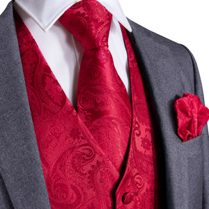 Fast Shipping Men's Classic Red Paisley Jacquard Silk Waistcoat Vest Handkerchief Cufflinks Party Wedding Tie Vest Suit Set MJ-0102