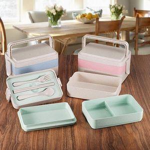 Paille de blé Boîte à lunch 2/3 couches Leakproof separete Grids pique-nique Box Double Lock Container Bento Box avec vaisselle chaude GGA2847