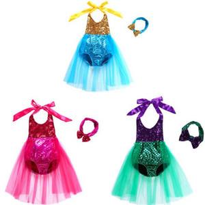 Mermaid Badebekleidung Kinderkleidung Baby-Designer Ein-Stück Bikini-Mädchen Pailletten Badeanzug Stirnband-Spitze-Tutu-Kleid-Badeanzug Bademode DYP369