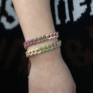 Ayarlayın kaydırıcı kutu zincir altın Küba bağlantı zinciri kadınların moda bilezik Miami cz altın 2 renk mikro açmıştı gökkuşağı gül