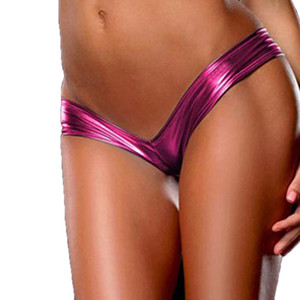 Women Sexy Panties Metallic Color G String Micro Thong Special Shiny Underwear Ladies Pu Leather Lingerie