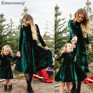 Mamá otoño e Hija vestido sólido de manga larga hija de la madre de los vestidos de la familia juego los equipos se ven mamá y me reviste c0527