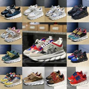Günstige Männer Frauen Luxus-Designer-Schuhe Rabatt Preis New Chain Reaction Multi Color Gummi Wildleder Turnschuhe Turnschuhe Freizeitschuhe 5-11
