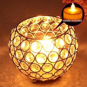Cristal Bougeoirs Photophore Lanterne en verre en métal Chandeliers de mariage Table Centerpieces main cadeau Accueil Vases Decoraion