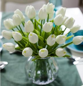 PU artificiali fiori di seta Tulipani tocco reale Fiori mini Tulip Wedding Bouquet decorativo Wedding le decorazioni Home Decor LXL732-1