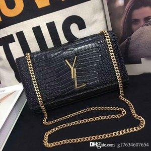 Alta qualità. Cena Borsa donna in pelle alla moda delle donne 354119 Crocodile Flap Bag anteriore Decorazione Con catena di metallo Tracolla