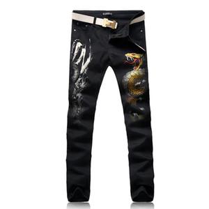 ORINERY 2019 New Designer Dragon Printed Jeans Men Fashion Straight Denim Pants Casual Black Long Trousers Punk Mens Clothes