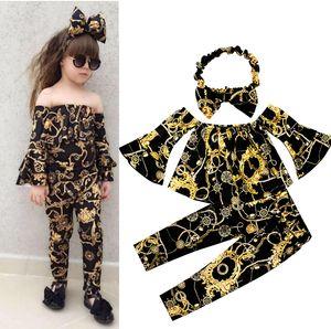 Baby-Kleidung gesetzter Golddruck Nähen abgefackelt Outfit Elastic Bowknotstirnband + Off-Schulter T-Shirts top + pants 3pcs / set Kinder Kleidung M233
