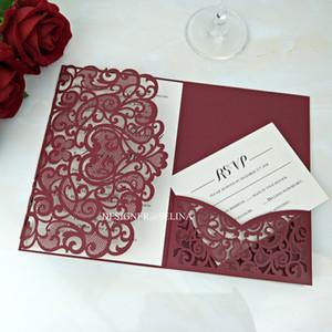 Cordial invitación - Borgoña boda del amor invitaciones Laser Cut tarjetas de la invitación con RSVP para invita Aniversario de quinceañera