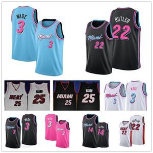 Femininos barato Miami Dwyane Dwayne Wade 3 Jersey Tyler 14 Herro Calor Jimmy 22 Butler costurado equipamentos de basquetebol 03