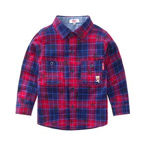 NANJIREN Children Boys Shirts Long Sleeve Tops Kids Plaid 100% Cotton Casual Shirt Boys Shirts Double Clothing High Quality