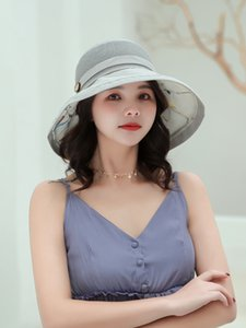 Splicing Wooden Buckle Sun Hat Double Layer floral Women's Small Fresh Literary fisherman cap