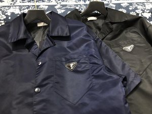 2020 European American mens lettre côté blouse design décontracté classique impression à manches courtes rayé cravate chemise à carreaux sauvage confortable