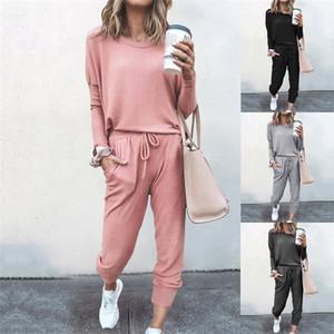 Pantolon ile Kadın 2PCS Katı Renk Tracksuits Sonbahar Kış O-boyun Yarasa Kol Kadın Gevşek Spor Suits ayarlar