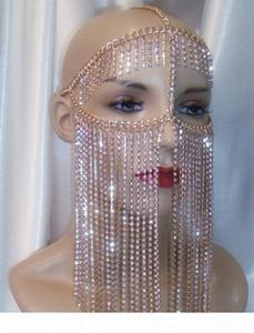 Catene Women Rock Harness colore dell'oro Capo Jewelry Design unico cristallo di lusso della catena nappe Viso catene Mask Gioielli